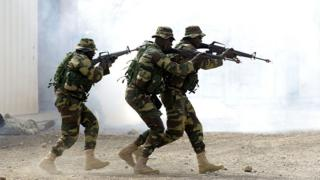 Senegalese troops taking part in a military exercise. File photo