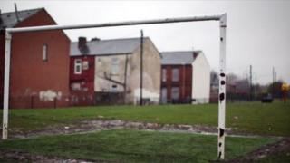 Football pitches with houses