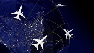 Ilustración de rutas aéreas