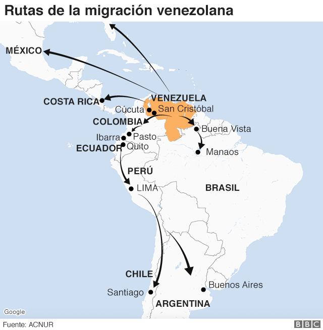 Rutas de los migrantes venezolanos.