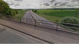 Overbridge at the M9 near Stenhousemuir