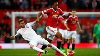 Anthony Martial of Manchester United in action against Liverpool