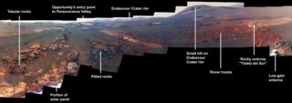 Incredible panorama photo taken by Nasa's Opportunity rover in an area of Mars called Perseverance Valley.