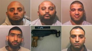 Top line Khalid Hussain, Muzaffer Ali, Faisal Mahmood; bottom line Sajid Khan, right Haroon Khatab and a gun