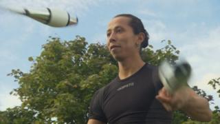 A juggler juggling