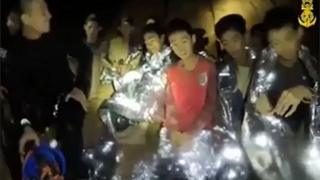 Boys trapped in cave in Thailand speak on camera
