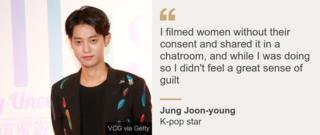 """I filmed women without their consent and shared it in a chatroom, and while I was doing so I didn't feel a great sense of guilt"", K-pop star Jung Joon-young said"