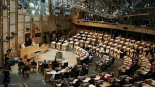 The Queen in the Scottish Parliament in 1997
