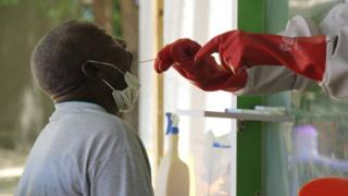 A Nigerian man being tested for coronavirus