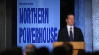Chancellor of the Exchequer George Osborne delivers his speech on the 'Northern Powerhouse' at Victoria Warehouse, Trafford on May 14, 2015 in Salford, England.