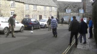 animals Shrove Tuesday Football in Corfe Castle