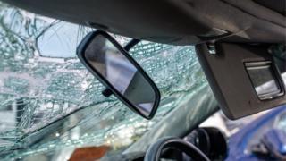 Crash damaged car
