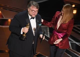 Guillermo del Toro and Emma Stone