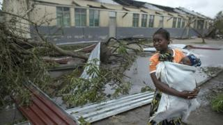 A secondary school in the village of Inhamizua, Mozambique, is being used as an emergency shelter for local residents. 16 March 2019