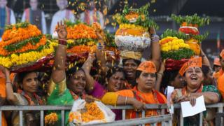 Women BJP supporters at rally in Hyderabad