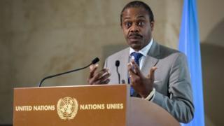 Le ministre de la Santé du Congo, Oly Ilunga, lors d'une conférence de presse à l'issue d'une réunion des Nations Unies sur Ebola.