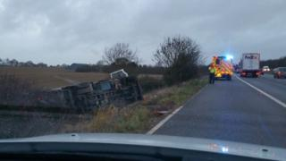 Lorry in ditch