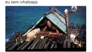 "A picture of a shipwrecked man tweeted by @euidiotices and the message ""me without whatsapp"""