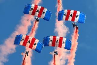 The RAF Falcons Parachute Display Team at the Scottish International Airshow at Ayr.