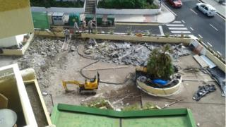 Construction work pictured from hotel