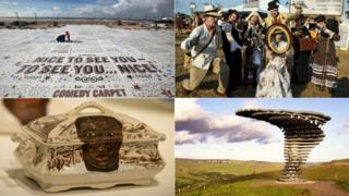 (Clockwise from top left) Blackpool's Comedy Carpet, the audience at Beatherder festival near Clitheroe, the Singing Ringing Tree sculpture in Rossendale and Lubaina Himid's pottery