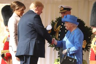 Queen Elizabeth II greets President of the United States, Donald Trump and First Lady, Melania Trump