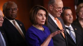Speaker of the House Nancy Pelosi (D-CA) and Senate Democratic Leader Chuck Schumer (D-NY) speak to the media with House Majority Whip Jim Clyburn (D-SC) and Assistant House Speaker Ben Ray Lujan (D-NM) at their sides after returning to the U.S. Capitol from a meeting with U.S. President Donald Trump at the White House in Washington, U.S., May 22, 2019. REUTERS/Jonathan Ernst