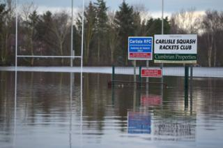 Flood waters swamp Carlisle Rugby Club on the city's Warwick Road