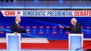 Joe Biden and Bernie Sanders at the Democratic debate