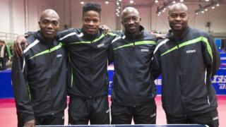 Some of di players for Nigeria table tennis team wit dai new kit