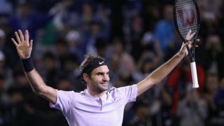 Roger Federer, lors du Masters 1000 de Shanghai, le 15 octobre 2017.