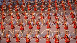 North Koreans perform gymnastic and artistic during a South Korean President Moon Jae-in and North Korean leader Kim Jong Un visit at the May Day Stadium on September 19, 2018 in Pyongyang