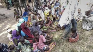 Some of the 338 people rescued by the Nigerian army