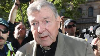 George Pell arriving at a Melbourne court for a court hearing on 27 February