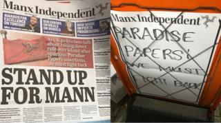 Isle of Man newspaper and billboard