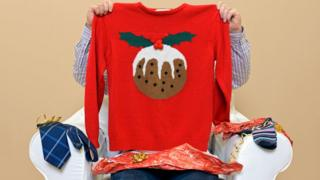 Christmas jumper with a Christmas pudding