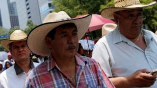 Ruben Nunez, from the CNTE in Oaxaca in a march in Mexico City, 28 May 2016
