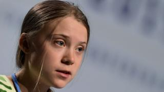 Greta Thunberg speaking at the UN climate change conference on Tuesday