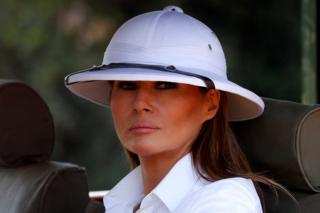 US First Lady Melania Trump takes a safari in Nairobi, Kenya, wearing a pith helmet - 5 October 2018