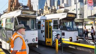 Scene of trams in Melbourne