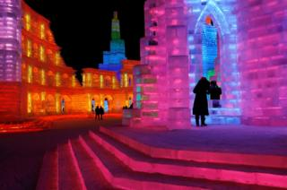 Ice sculptures illuminated by coloured lights are seen at annual ice festival, in the northern city of Harbin, Heilongjiang province, China. 4 January 2019.