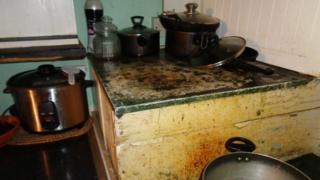 A mouldy kitchen unit