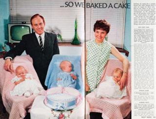 1969年,六胞胎的父母拜瑞和希拉跟他们的小宝宝一时成了名人,上了《女性》杂志封面。