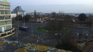 A roundabout in Slough