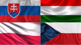 Banderas de Eslovaquia, Hungría, Polonia y República Checa.