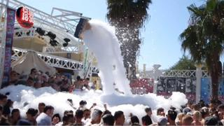 Foam party on Club 18-30 holiday