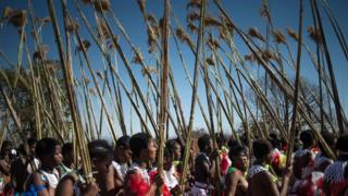 Women carrying reeds during the rain dance in Swaziland - 2016