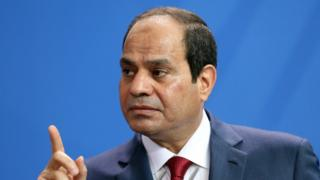 Egyptian President Abdel Fattah el-Sisi speaks during a news conference
