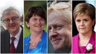 The leaders of the UK nations: Welsh First Minister Mark Drakeford, Northern Ireland's First Minister Arlene Foster, Prime Minister Boris Johnson and Scottish First Minister Nicola Sturgeon