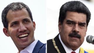 Juan Guaido ve Nicolas Maduro